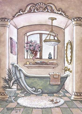 Vasca da bagno vintage ii stampa su tela di janet kruskamp su - Vasca da bagno retro ...