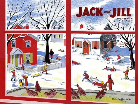 Winter Fun - Jack and Jill, January 1949 Giclee Print