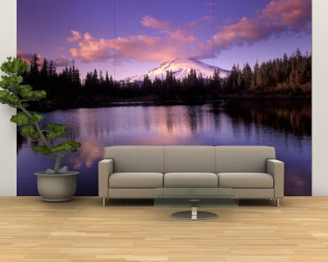 Mt. Hood Reflected in Mirror Lake, Oregon Cascades, USA Wall Mural – Large