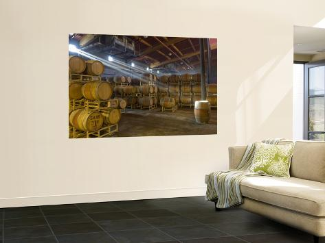 Shafts of Light in Barrel Room of Montevina Winery, Shenandoah Valley, California, USA Wall Mural