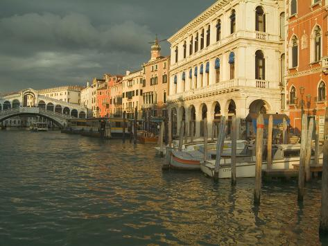 Sunset View of Storm Clouds and Boats on the Grand Canal, Venice, Italy Photographic Print