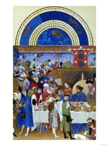 January: Banquet Scene by the Limbourg Brothers (Facsimile Manuscript) Giclee Print