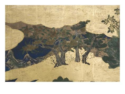 Detail of Spring in the Palace, Six-Fold Screen from 'The Tale of Genji', C.1650 Giclee Print