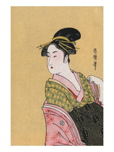 Japanese Matchbox Label with a Woman in a Pink and Green Kimono Stretched Canvas Print