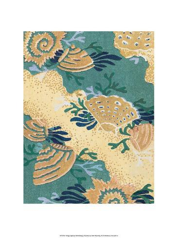 Japanese Textile Woodblock, Sea Shells Stampa artistica