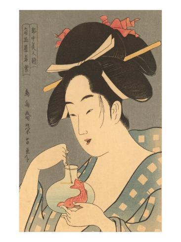 Japanese Woodblock, Lady with Fish Art Print
