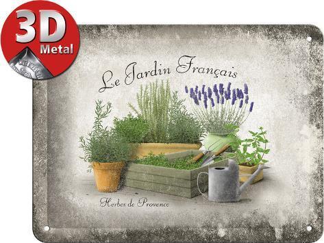 Jardin francais tin sign for Jardin francais