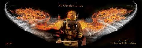 Fireman No Greater Love Art Print