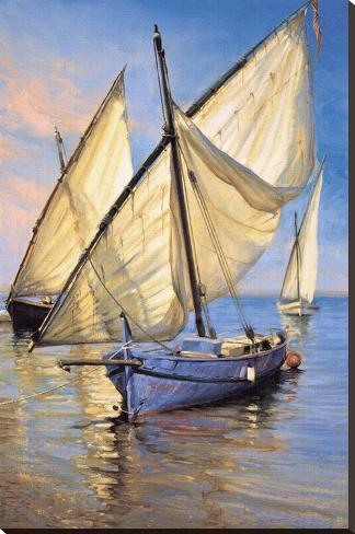 Violet Boat Stretched Canvas Print