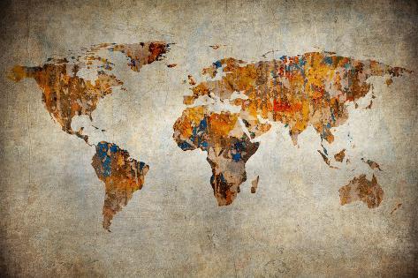 Grunge Map Of The World Art Print
