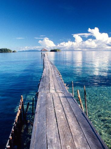 Wooden Jetty Extending off Kadidiri Island, Togian Islands, Sulawesi Photographic Print