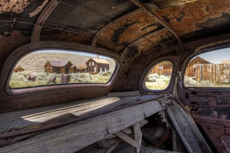 California, Bodie State Historic Park. Inside Abandoned Car Looking Out Photographic Print
