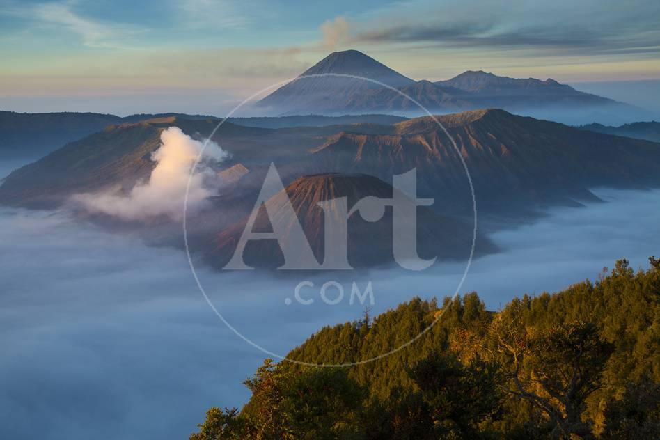 Indonesia, East Java  Overview of Mt  Bromo and Mt  Merapi
