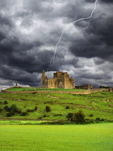 Lightning over Ruins of the Rock of Cashel, Tipperary County, Ireland Photographic Print