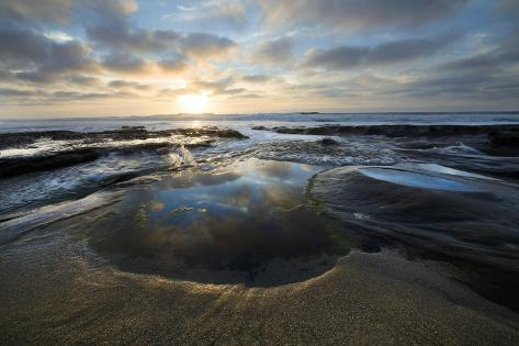 Tide Pools in La Jolla California at Sunset Photo Art Print Poster 24x36 inch