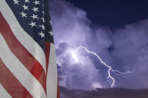 Flag and Storm Photographic Print