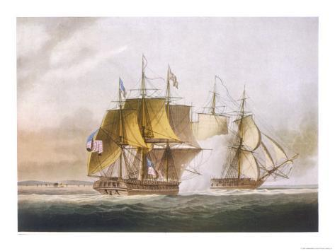 Naval Combat off Boston Between Hms Shannon and the American Frigate Chesapeake Giclee Print