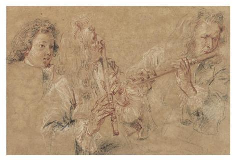 Two Studies of a Flutist and a Study of the Head of a Boy Lámina