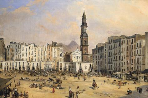 Piazza, Naples, Italy, Mid 19th Century Giclee Print