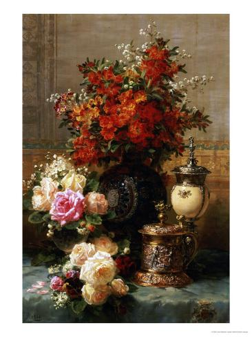 Still Life of Roses and Other Flowers Giclee Print