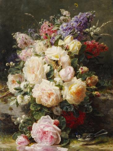 Still Life with Roses, Syringas and a Blue Tit on a Mossy Bank Giclee Print