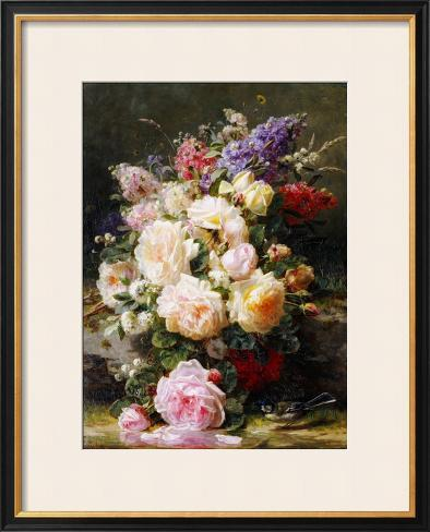 Still Life with Roses, Syringas and a Blue Tit on a Mossy Bank Framed Giclee Print