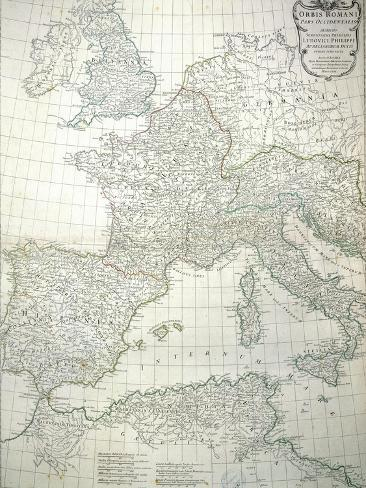 Map of the Western Part of the Roman Empire, 1763 Giclee Print
