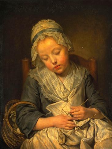 Young Knitter Asleep, C.1759 Lámina giclée