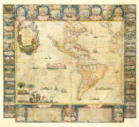 L'Amerique Dedice et Presente a sa Majeste tres Chrestienne Louis XVI, 1740 Premium Giclee Print