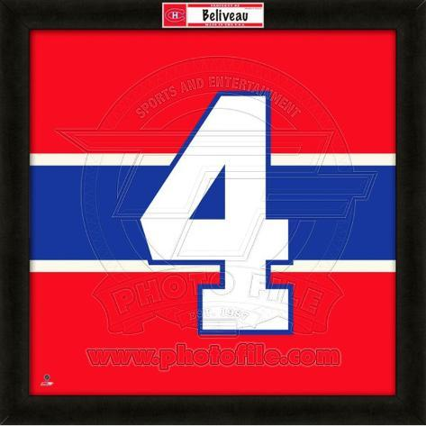 Jean Beliveau, Canadiens photographic representation of the player's jersey Framed Memorabilia