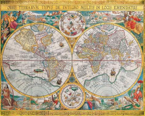 Antique Map, Orbis Terrarum, 1636 Stretched Canvas Print