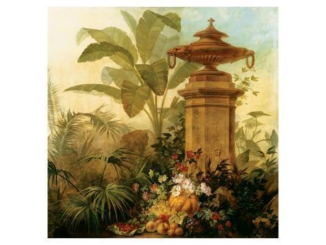 Still Life with Tropical Palms Lámina giclée prémium
