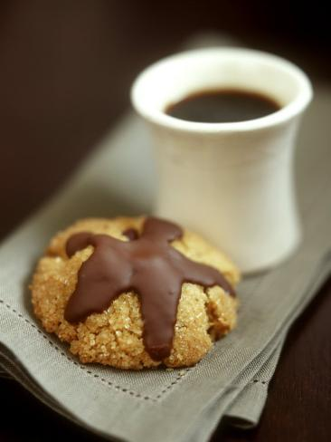 Coffee Sand Biscuits with Chocolate Icing Photographic Print