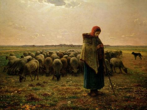 Shepherdess with Her Flock, 1863 Giclee Print