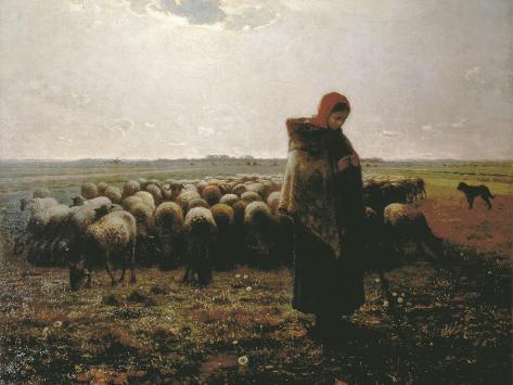 Shepherdess with Her Flock Art Print