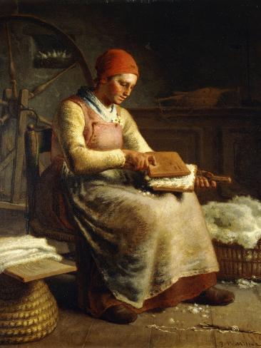 Woman Carding Wool Impressão giclée