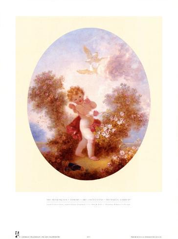 Cupid Between Roses Art Print