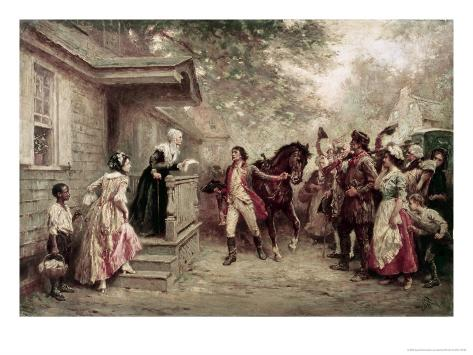 News of Yorktown, Brought to Washington's Mother Impressão giclée