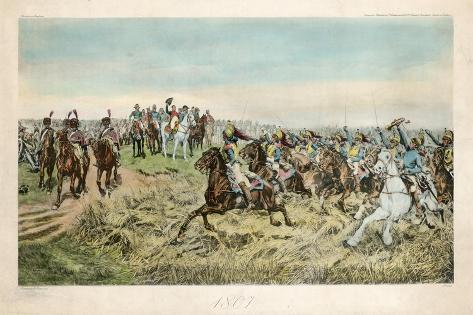 Charge of the French Cuirassiers at Friedland on 14 June 1807 Impressão giclée