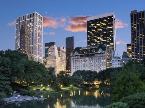 Central Park South at Night Photographic Print