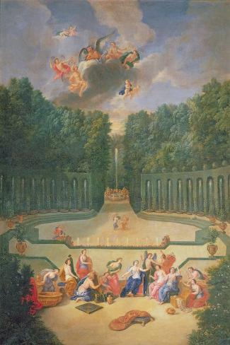 The Groves of Versailles. View of the Amphitheatre and the Water Theatre with Venus Surrounded by… Giclee Print
