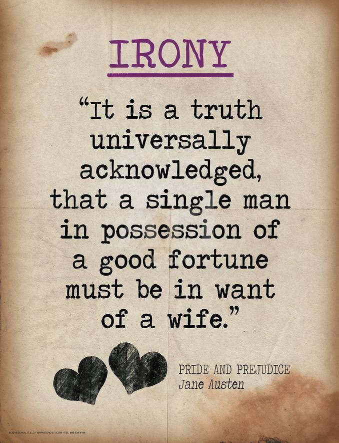 Irony (Quote from Pride and Prejudice by Jane Austen)