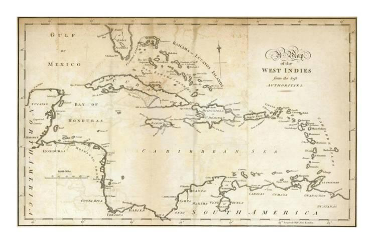 Mexico Map 1794.Map Of The West Indies C 1794 Poster By Jedidiah Morse At