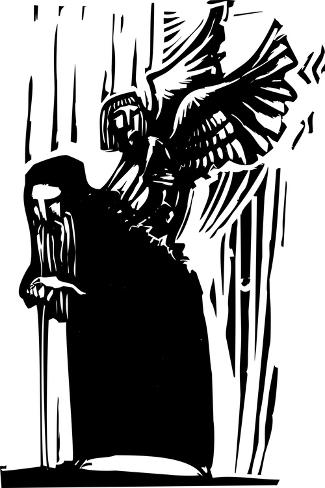 Woodcut Expressionist Style Image of a Young Angel Emerging from the Back of an Old Man. Art Print