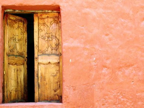 Carved Door and Painted Facade at Monastery of Santa Catalina, Arequipa, Peru Photographic Print