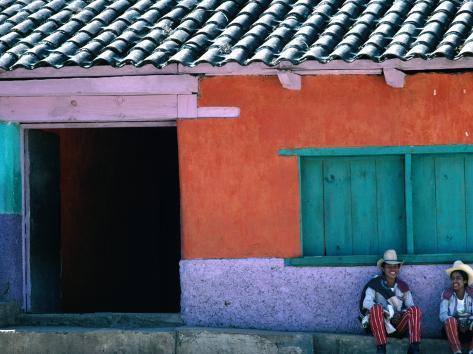 Two Mayan Boys Sitting in Front of House, Todos Santos Cuchumatan, Guatemala Photographic Print
