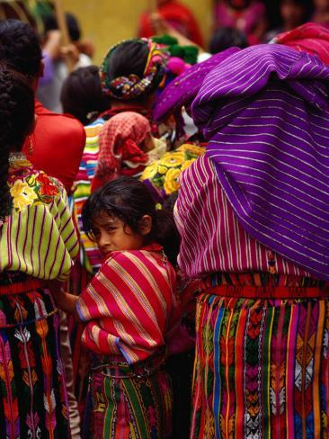 Women and Young Girl Watching the Zunil Easter Procession, Zunil, Guatemala Photographic Print
