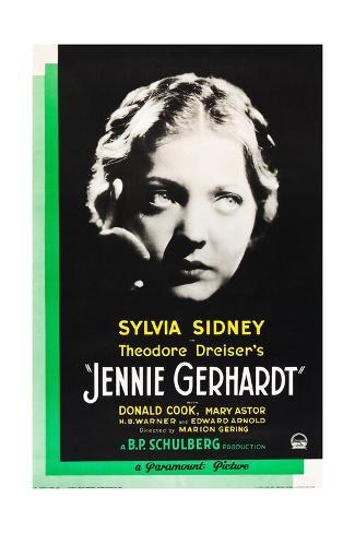 JENNIE GERHARDT, US poster art, Sylvia Sidney, 1933 Stretched Canvas Print