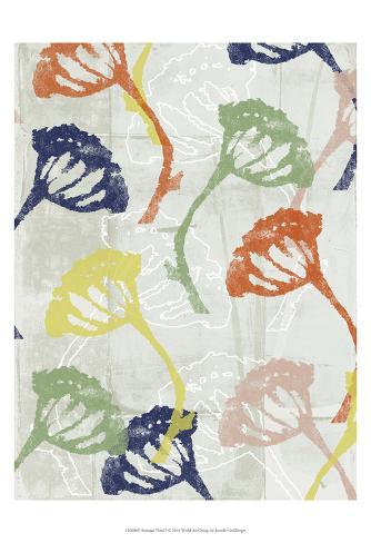 Stamped Floral I Art Print