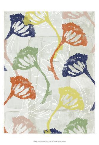 Stamped Floral II Art Print